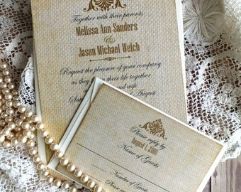 Vintage Elegant Romantic Burlap Wedding Invitation Suite Handmade by avintageobsession on etsy
