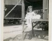 1950s Girl Feeding White BUNNY RABBIT - snapshot 477-A
