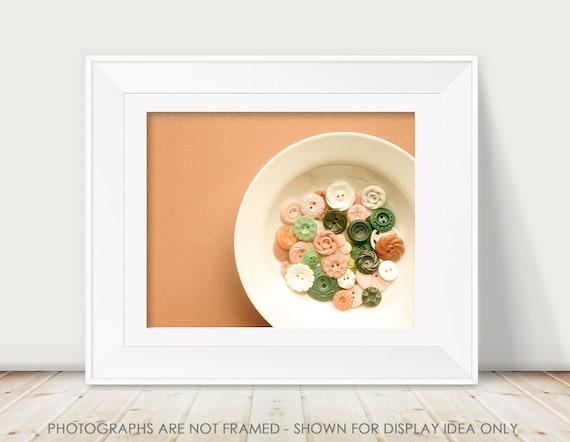 Vintage Buttons Photograph, Still Life Photography, Soft Pink Pale, Retro, Craft Room Decor, Sewing Room Decor, Nursery Art, Minimal Modern