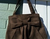 LAST ONE- free shipping in US-- Dark Brown Bow Bag / Purse w/ double handles