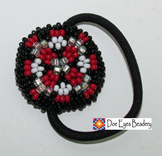 beaded ponytail holder garnet and black free by doeeyesbeadery