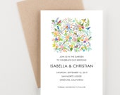 Floral with Birds Save The Date, Garden Wedding, Bridal Shower, Wedding Invitation