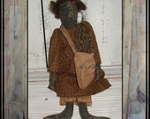 SPECIAL SALE Extreme primitive painted black rag doll weed bag hafair ofg faap