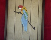 Handcrafted Leather PARROT on a BRANCH