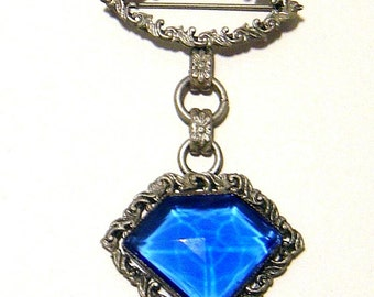 Art Deco blue glass dangle Brooch pin