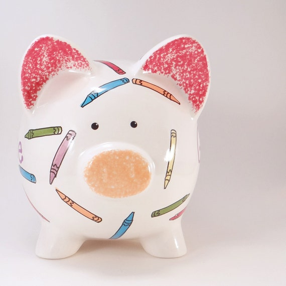 Crayon Piggy Bank - Personalized Piggy Bank - Coloring Piggy Bank - Crayon Theme Bank - Colorful Piggy Bank - with hole or NO hole in bottom