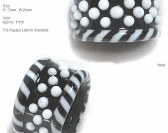 SLIDER 747  Lampwork Bead Handmade Large Big Holed Slider Bead Black White    -- fits Regaliz