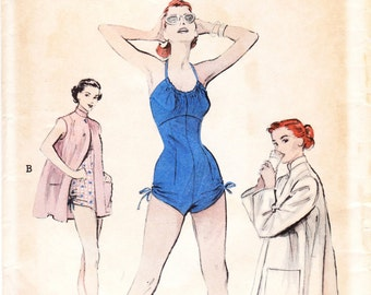 Vintage 1950s swimsuit / playsuit sewing pattern - Vogue 6536 - bust 34