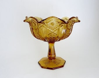 Vintage Amber Glass Pedestal Compote - L.E. Smith Heitage Quintec Amber Glass Pedestal Compote - Glass Fruit Bowl Centerpiece