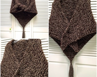 Outlander Sassenach Shawl Claire Fraser Scottish Brown Wool Boucle Triangle Tassel