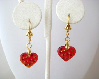 Ruby Red Glass Puffy Heart Dangle Earrings, Sweetheart Romance Collection