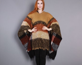 70s MOHAIR PONCHO CAPE / 1970s Soft Shaggy Brown Wool Cape Coat