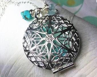 Worry Locket - aqua round locket / turquoise necklace / silver locket / aquamarine locket /photo locket / floating locket/ turquoise locket