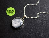 Sterling Silver Moon Phase Necklace Custom - Choice of phase Glass Dome full moon pendant Statement Necklace