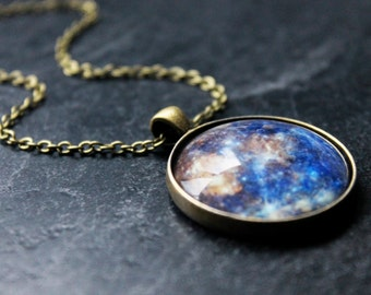 Planet Mercury Necklace - LARGE Galaxy Glass Dome Bronze solar system Necklace