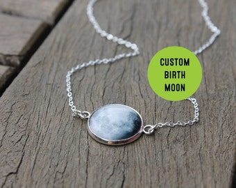 Birth Moon Necklace - Personalised Birthmoon Pendant - Custom Glass Dome full moon Necklace Birthday Birthstone