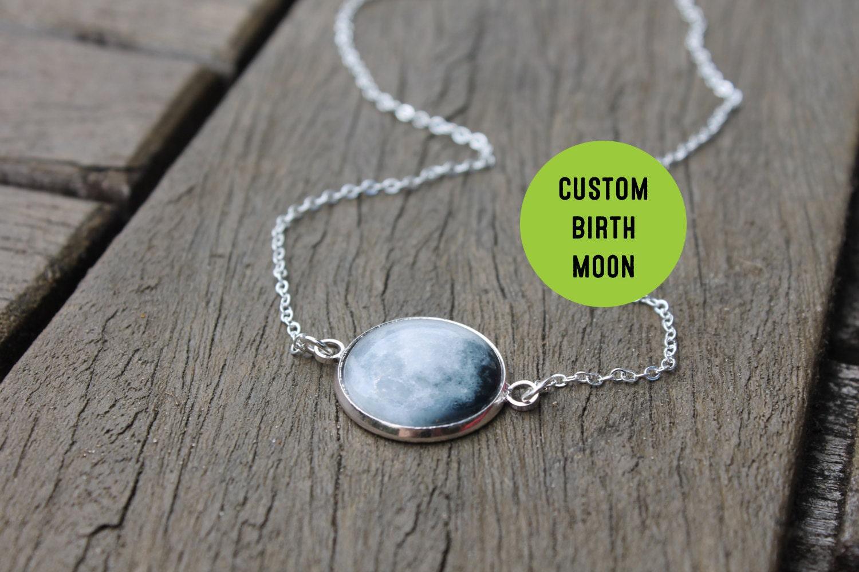 birth moon necklace personalised birthmoon pendant custom