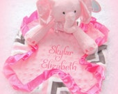 Personalized plush elephant baby lovie, unique baby girl minky blanket, stuffed pink elephant and blankie, snugly security blanket and toy