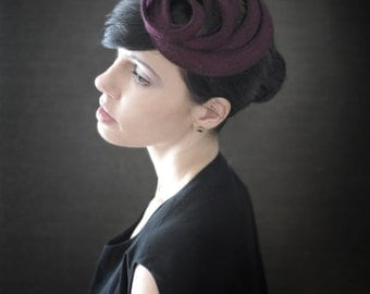 Modern Maroon Felt Fascinator - Fall Fashion - Orbital Series - Made to Order