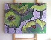 Lime Green Poppies, Flower Art Painting, Abstract Floral Art, Impressionist Painting, Modern Art by Will Wieber