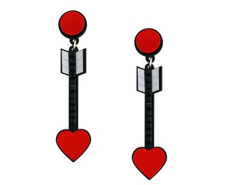 From the Heart Arrow Acrylic Earrings in Red
