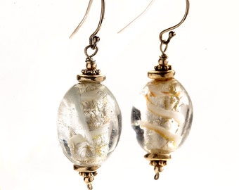 Dangling Glass Bead Earrings with Brass Bead Caps and Sterling Silver Ear Wire