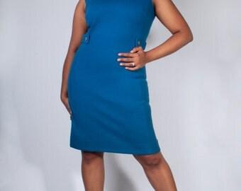 Vintage 60's Yale Blue Sleeveless Knit Wiggle Sheath Dress with Waist Belt (sz 10 12 14)