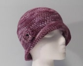 Womens Crochet Brimmed Flapper Hat - multicolor purple tones - ready to ship