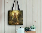 Forest Spirit Tote Bag, Woodland Goddess Fox Painting on Eco Friendly Bag