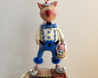 Harry O'Hare Bunnykins - Whimsical Easter  Bunny Paperclay Collectible Art Doll