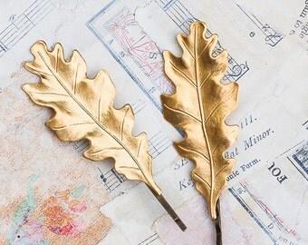 LEAF Bobby Pins Woodland Wedding Boho Autumn GOLD Oak Leaf