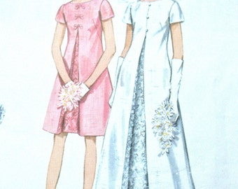 Vintage 60s Butterick 4694 Wedding Gown and A-Line Bridal Dress Sewing Pattern  Bust 38 inches
