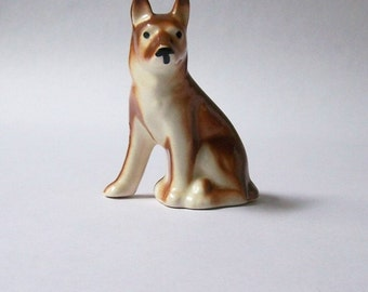 Little Brown Dog ~ Vintage Porcelain Dog Figurine