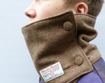Men's Harris Tweed Neckwarmer - Rustic Brown