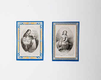 2 French antique religious icon prayer images