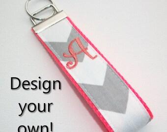 Key FOB / KeyChain / Wristlet  - initial monogram on your choice of chevron preppy -  custom design your own