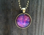 """Purple Pink Fusion Glass Dome Pendant Tray Necklace 24"""" Ball Chain Vintage Brass Finish"""