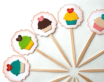 Heart Cupcake Sayings - Cupcake Toppers Food Picks
