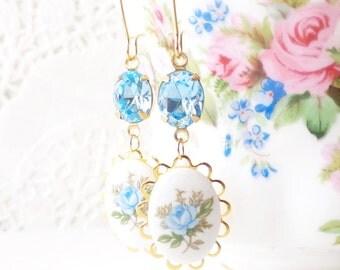 Vintage Blue Rose Cameo Earrings - Vintage Aquamarine Jewel Earrings - Something Blue Bridal Earrings - Blue Crystal Dangle Earrings