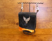"""Made to order, Black and Metallic Leather Clip on Hip Bag with layered leather, 4 3/4"""" x 6"""" x 1 3/4"""", button and trigger clips, large charm"""