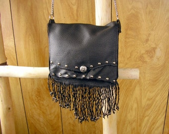 "Espresso  Leather Purse ~ Cross-body Bag ~ beaded ~ twisted fringe, cross button, studs, chain strap, 7"" x 7 3/4""  x 1 3/4"""
