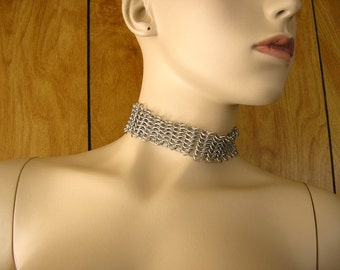 """Chainmail collar choker - 1 3/4"""" wide, and 12"""" long adjustable with a 2"""" long adjuster chain with a silver feather charm."""