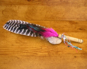 """Turkey Feather Fan 17"""" long with quill feather, marabou and fuchsia feathers, wood handle, star charm and beaded tassel  #1505F"""