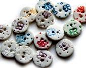 Ceramic Button - Round Buttons - Handmade Button - Porcelain Buttons - Craft Buttons - Buttons for Crafts - Butterfly Button - Per button