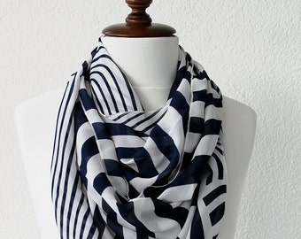 NEW Nautical Infinity Scarf - Loop Scarf - Circle Scarf - Cowl Scarf - Soft and Lightweight