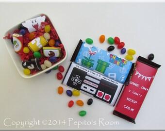 Print-INK Super Mario Bros. A La Carte Candy Bar Wraps / Mini Wraps / Hershey's Labels - Editable DIY Digital Printable PDF