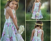 """Vintage Chic """"Spring Kisses"""" Sundress - Girls - Lace Trim - Stripes - Floral - Mint - Pink - Birthday - Party - Special Occasion - Celebrate"""