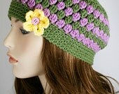 Womens Beanie Crochet Hat Womens Hat with Flower Colorful Beanie Accessories Cloche Hat Fall Fashion Lavender and Sage