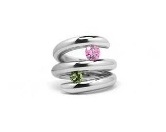 Two Stone Cocktail Right Hand Ring in Stainless Steel Statement Modern Design