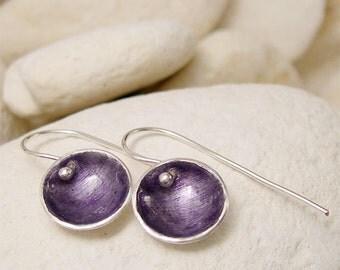 Purple Fused Glass Earrings, Enamel Silver Artisan Earrings, Small Round Silver Dangle Earrings, Simple Modern Hand Forged Silver Jewelry,